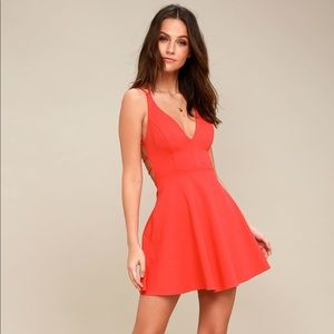Lulus Believe in Love Red Backless Skater Dress